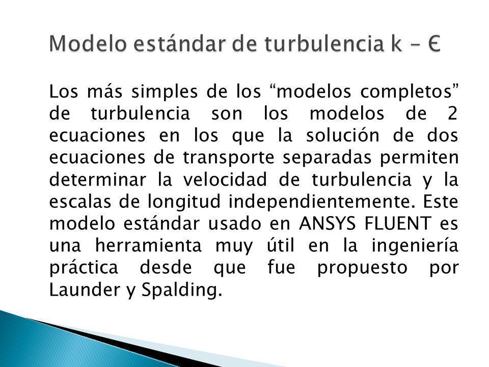 Los más simples de los modelos completos de turbulencia son los modelos de 2 ecuaciones en los que la solución de dos ecuaciones de transporte separad