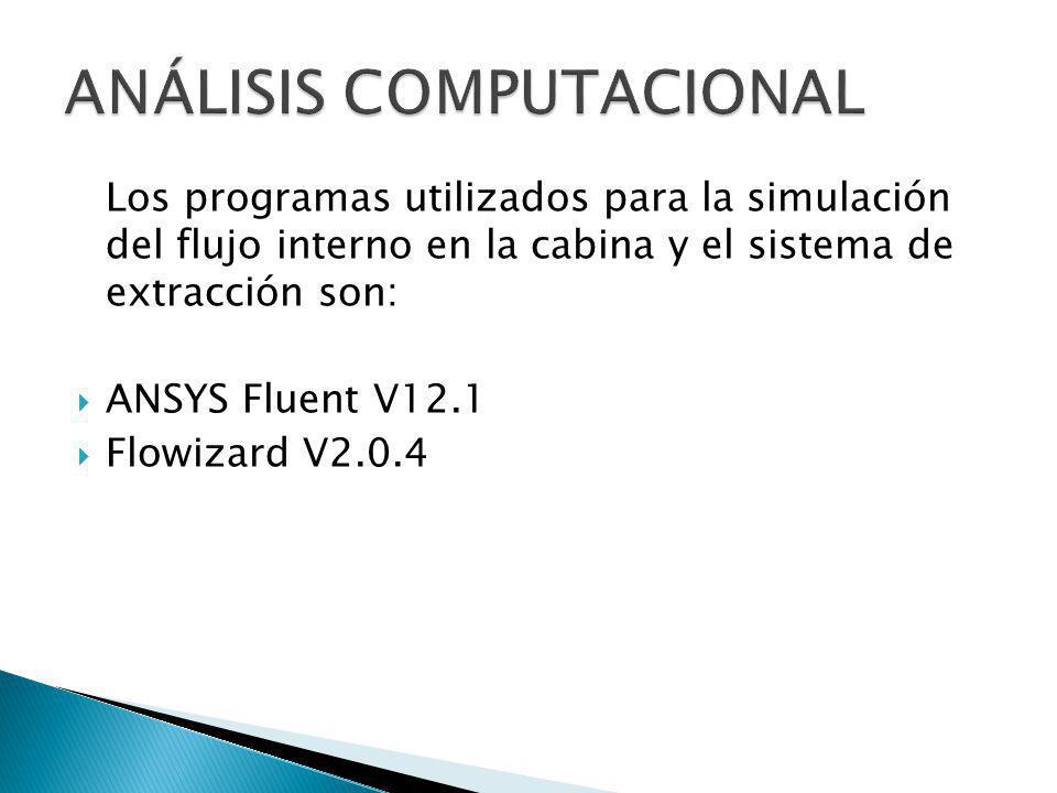Los programas utilizados para la simulación del flujo interno en la cabina y el sistema de extracción son: ANSYS Fluent V12.1 Flowizard V2.0.4