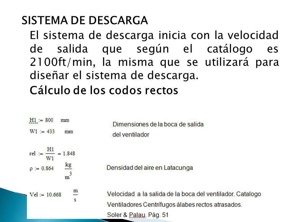 SISTEMA DE DESCARGA El sistema de descarga inicia con la velocidad de salida que según el catálogo es 2100ft/min, la misma que se utilizará para diseñ