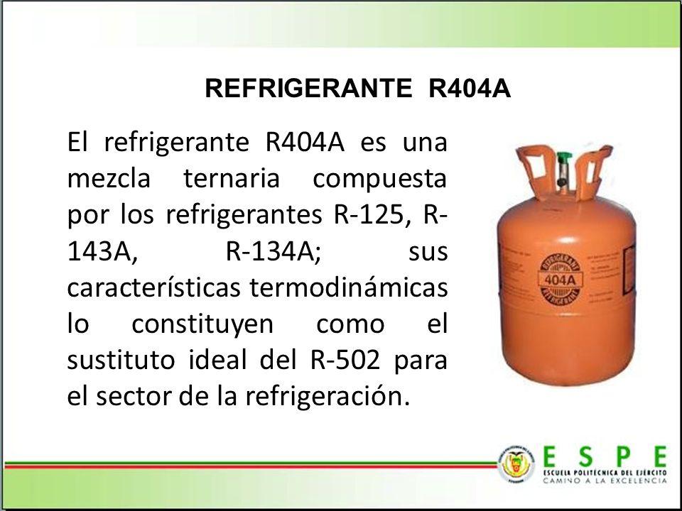 El refrigerante R404A es una mezcla ternaria compuesta por los refrigerantes R-125, R- 143A, R-134A; sus características termodinámicas lo constituyen