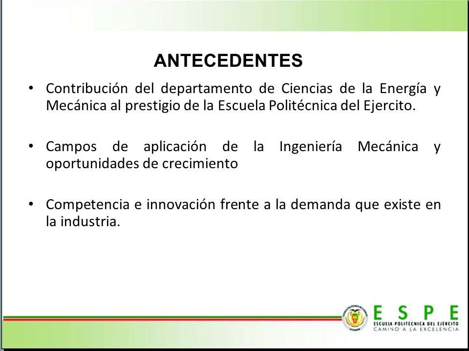 Contribución del departamento de Ciencias de la Energía y Mecánica al prestigio de la Escuela Politécnica del Ejercito. Campos de aplicación de la Ing