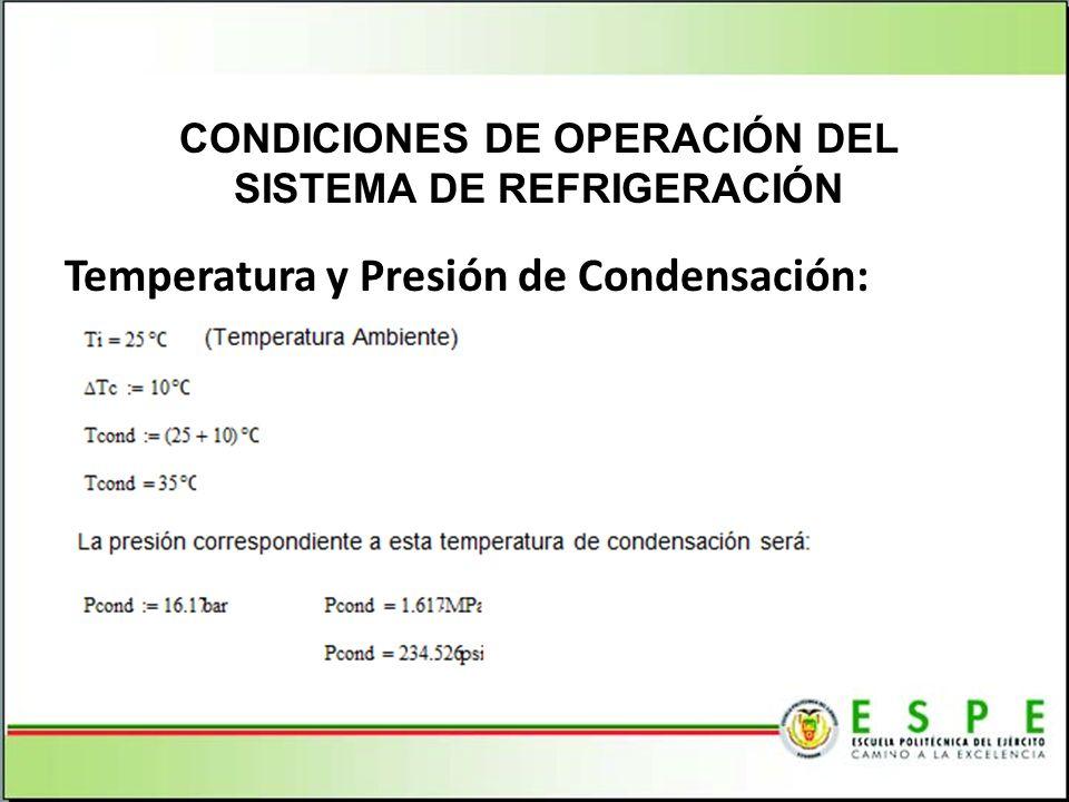 Temperatura y Presión de Condensación: CONDICIONES DE OPERACIÓN DEL SISTEMA DE REFRIGERACIÓN
