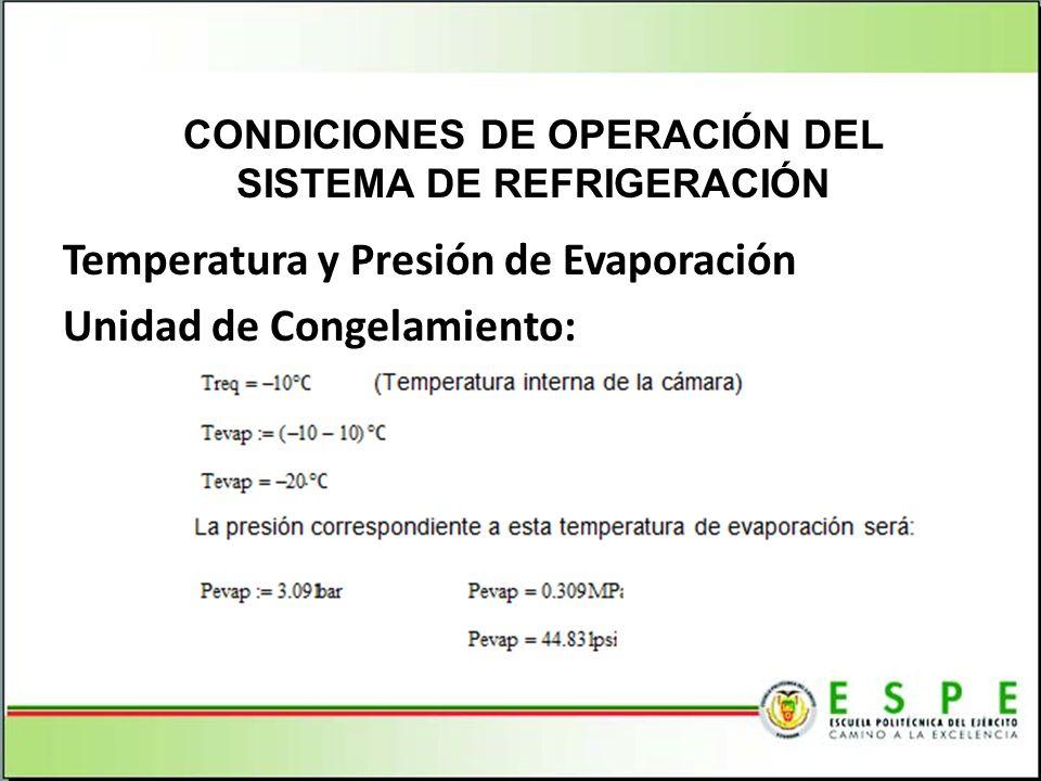 Temperatura y Presión de Evaporación Unidad de Congelamiento: CONDICIONES DE OPERACIÓN DEL SISTEMA DE REFRIGERACIÓN