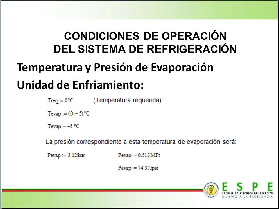 Temperatura y Presión de Evaporación Unidad de Enfriamiento: CONDICIONES DE OPERACIÓN DEL SISTEMA DE REFRIGERACIÓN