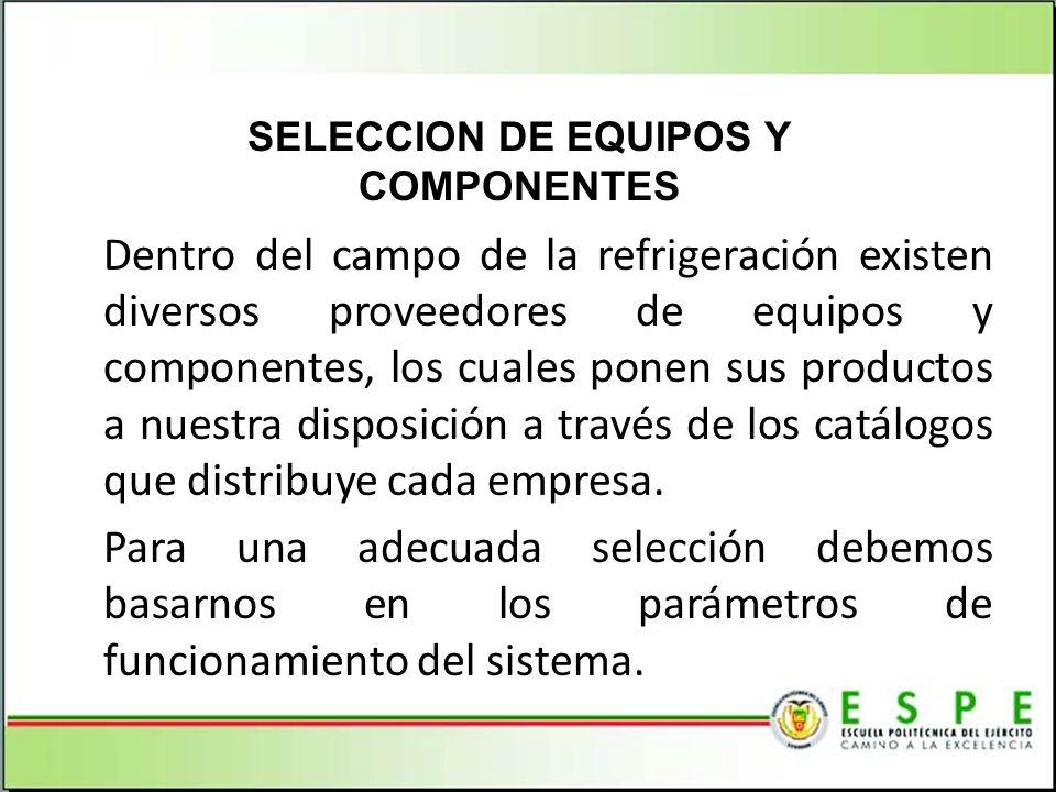 Dentro del campo de la refrigeración existen diversos proveedores de equipos y componentes, los cuales ponen sus productos a nuestra disposición a tra