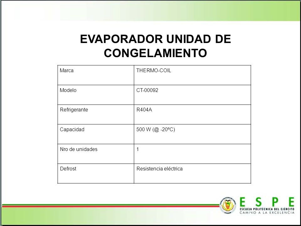 EVAPORADOR UNIDAD DE CONGELAMIENTO MarcaTHERMO-COIL ModeloCT-00092 RefrigeranteR404A Capacidad500 W (@ -20ºC) Nro de unidades1 DefrostResistencia eléc