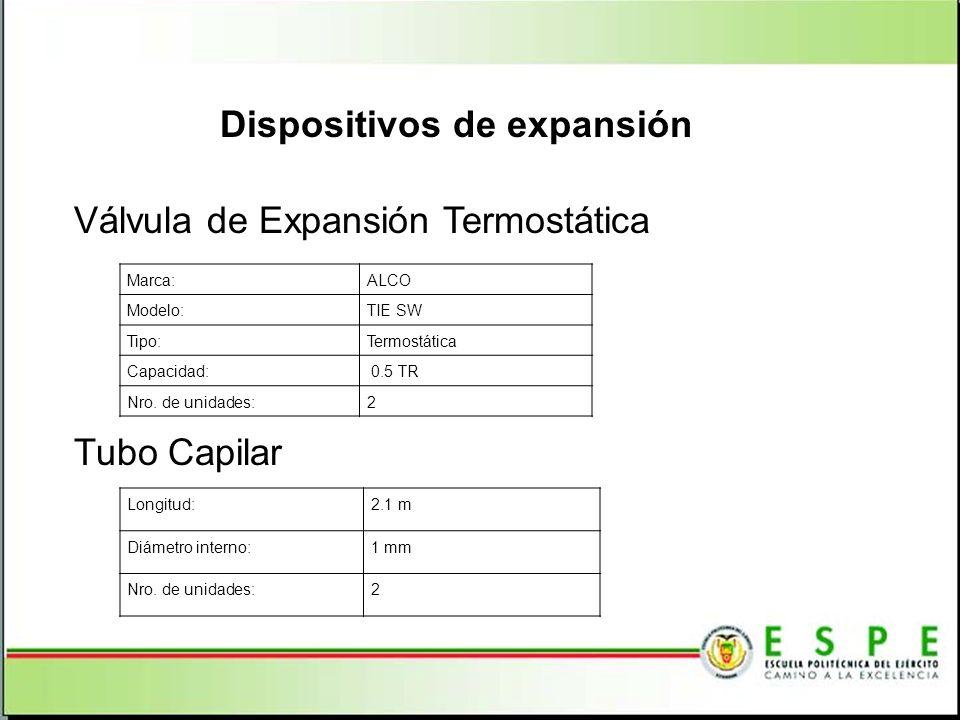 Dispositivos de expansión Marca:ALCO Modelo:TIE SW Tipo:Termostática Capacidad: 0.5 TR Nro. de unidades:2 Válvula de Expansión Termostática Tubo Capil