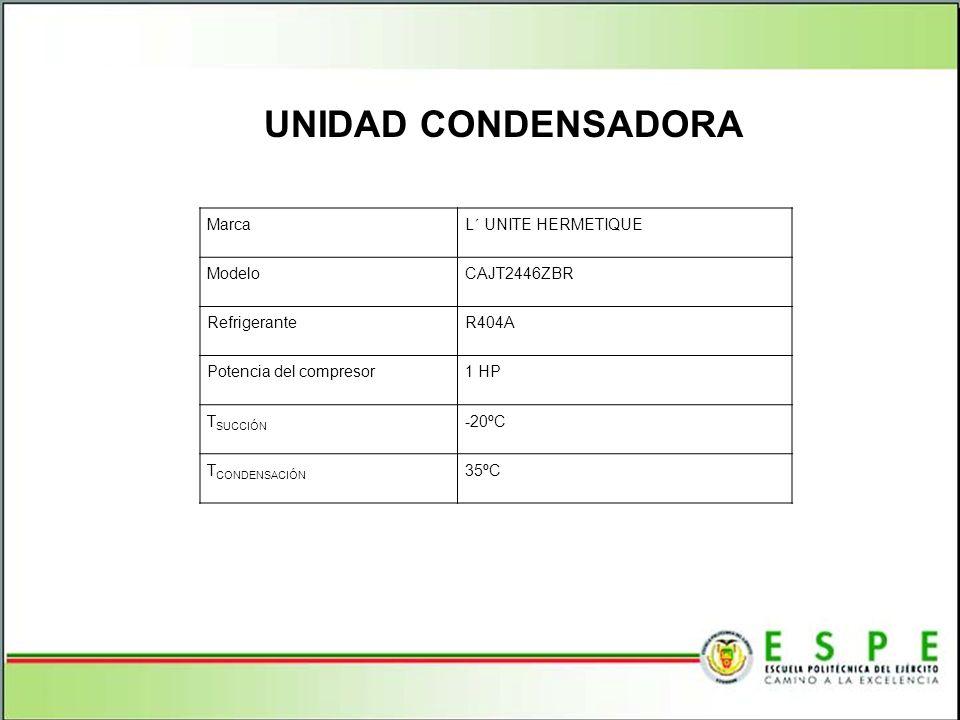 UNIDAD CONDENSADORA MarcaL´ UNITE HERMETIQUE ModeloCAJT2446ZBR RefrigeranteR404A Potencia del compresor1 HP T SUCCIÓN -20ºC T CONDENSACIÓN 35ºC