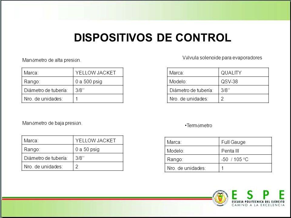 DISPOSITIVOS DE CONTROL Marca:QUALITY Modelo:QSV-38 Diámetro de tubería:3/8 Nro. de unidades:2 V á lvula solenoide para evaporadores Marca:YELLOW JACK