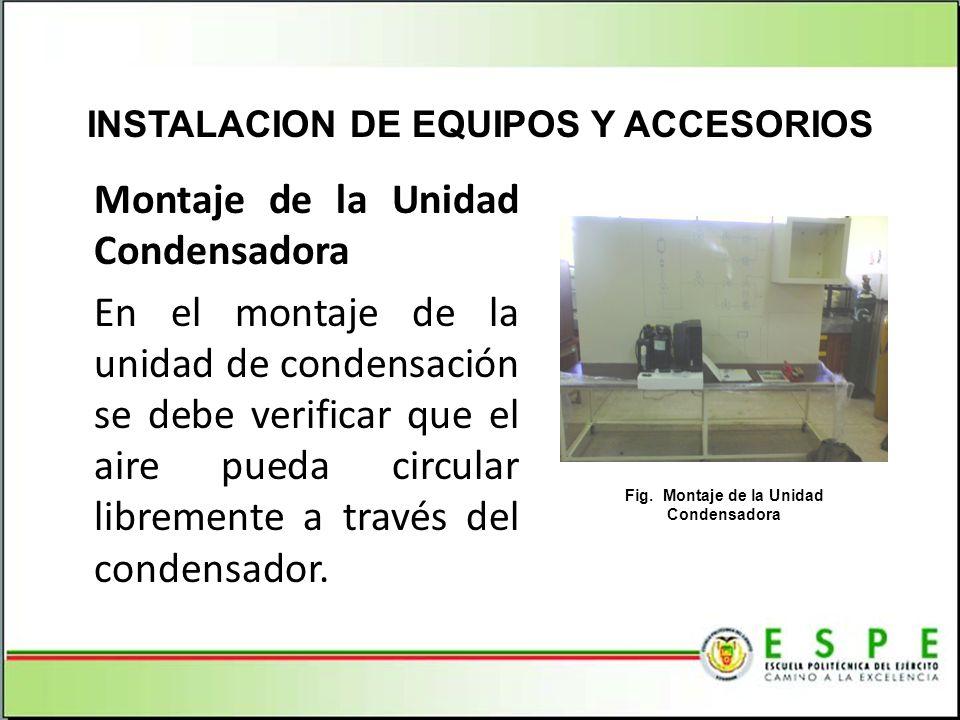 Montaje de la Unidad Condensadora En el montaje de la unidad de condensación se debe verificar que el aire pueda circular libremente a través del cond