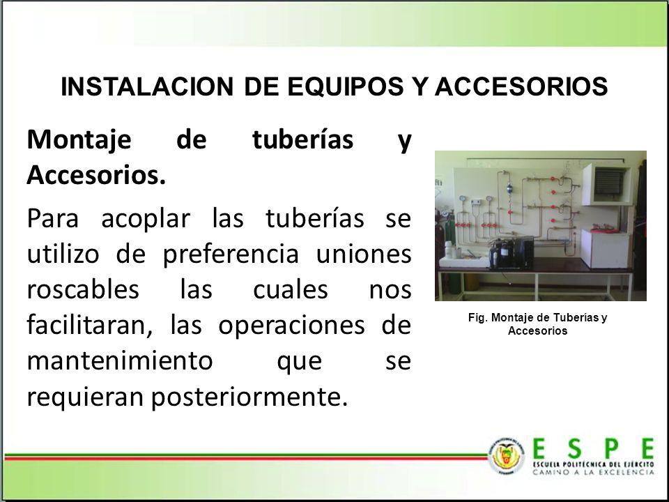 Montaje de tuberías y Accesorios. Para acoplar las tuberías se utilizo de preferencia uniones roscables las cuales nos facilitaran, las operaciones de