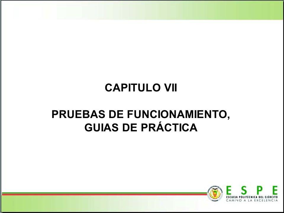 CAPITULO VII PRUEBAS DE FUNCIONAMIENTO, GUIAS DE PRÁCTICA