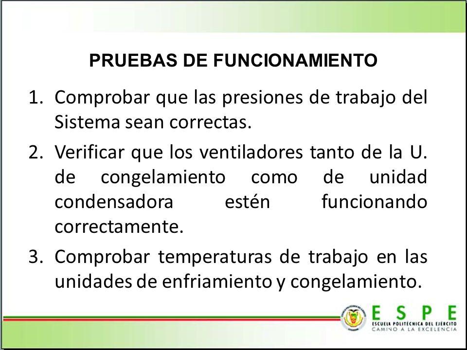1.Comprobar que las presiones de trabajo del Sistema sean correctas. 2.Verificar que los ventiladores tanto de la U. de congelamiento como de unidad c