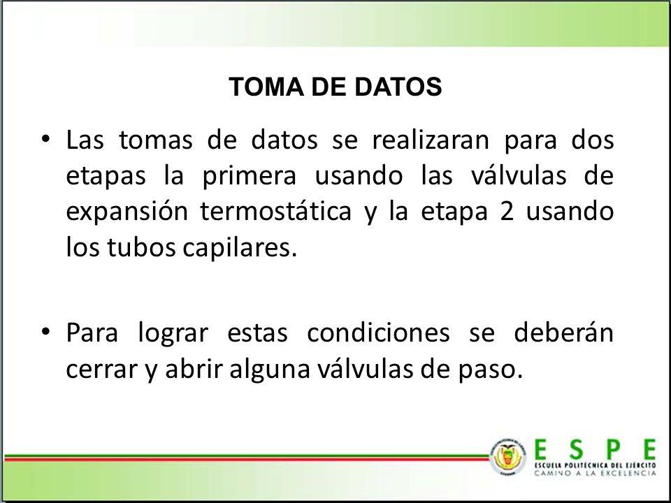 Las tomas de datos se realizaran para dos etapas la primera usando las válvulas de expansión termostática y la etapa 2 usando los tubos capilares. Par