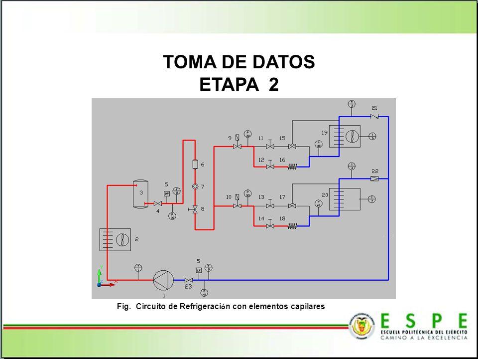 TOMA DE DATOS ETAPA 2 Fig. Circuito de Refrigeraci ó n con elementos capilares