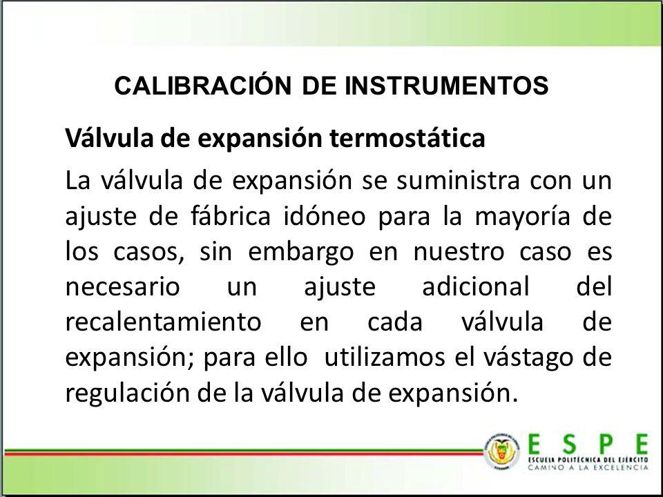 Válvula de expansión termostática La válvula de expansión se suministra con un ajuste de fábrica idóneo para la mayoría de los casos, sin embargo en n