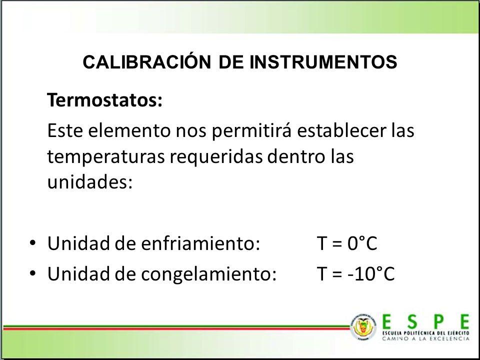 Termostatos: Este elemento nos permitirá establecer las temperaturas requeridas dentro las unidades: Unidad de enfriamiento:T = 0°C Unidad de congelam
