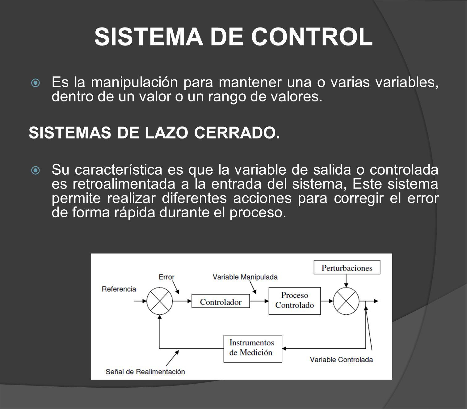 SISTEMA DE CONTROL Es la manipulación para mantener una o varias variables, dentro de un valor o un rango de valores. SISTEMAS DE LAZO CERRADO. Su car