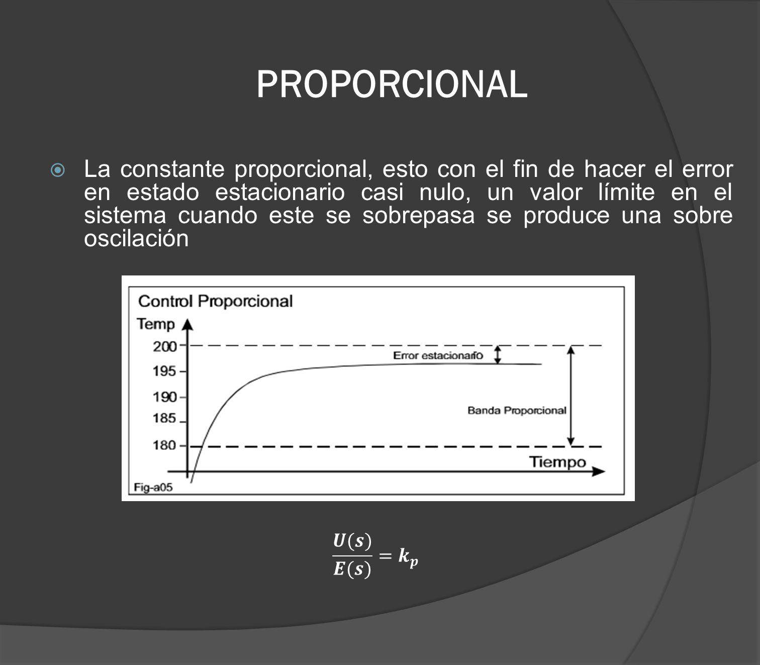PROPORCIONAL La constante proporcional, esto con el fin de hacer el error en estado estacionario casi nulo, un valor límite en el sistema cuando este