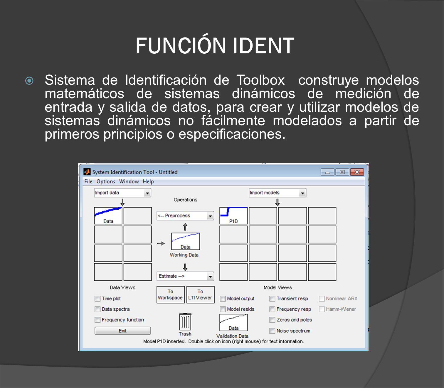 FUNCIÓN IDENT Sistema de Identificación de Toolbox construye modelos matemáticos de sistemas dinámicos de medición de entrada y salida de datos, para