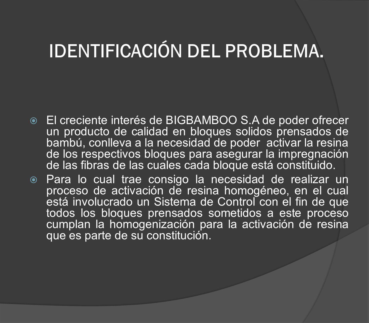 IDENTIFICACIÓN DEL PROBLEMA. El creciente interés de BIGBAMBOO S.A de poder ofrecer un producto de calidad en bloques solidos prensados de bambú, conl