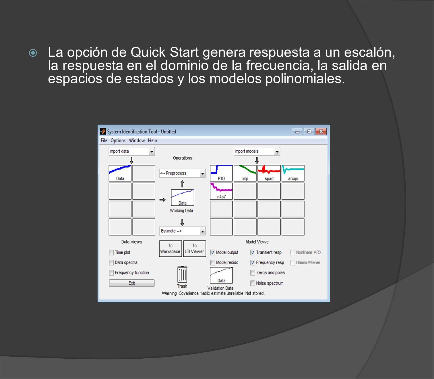 La opción de Quick Start genera respuesta a un escalón, la respuesta en el dominio de la frecuencia, la salida en espacios de estados y los modelos po