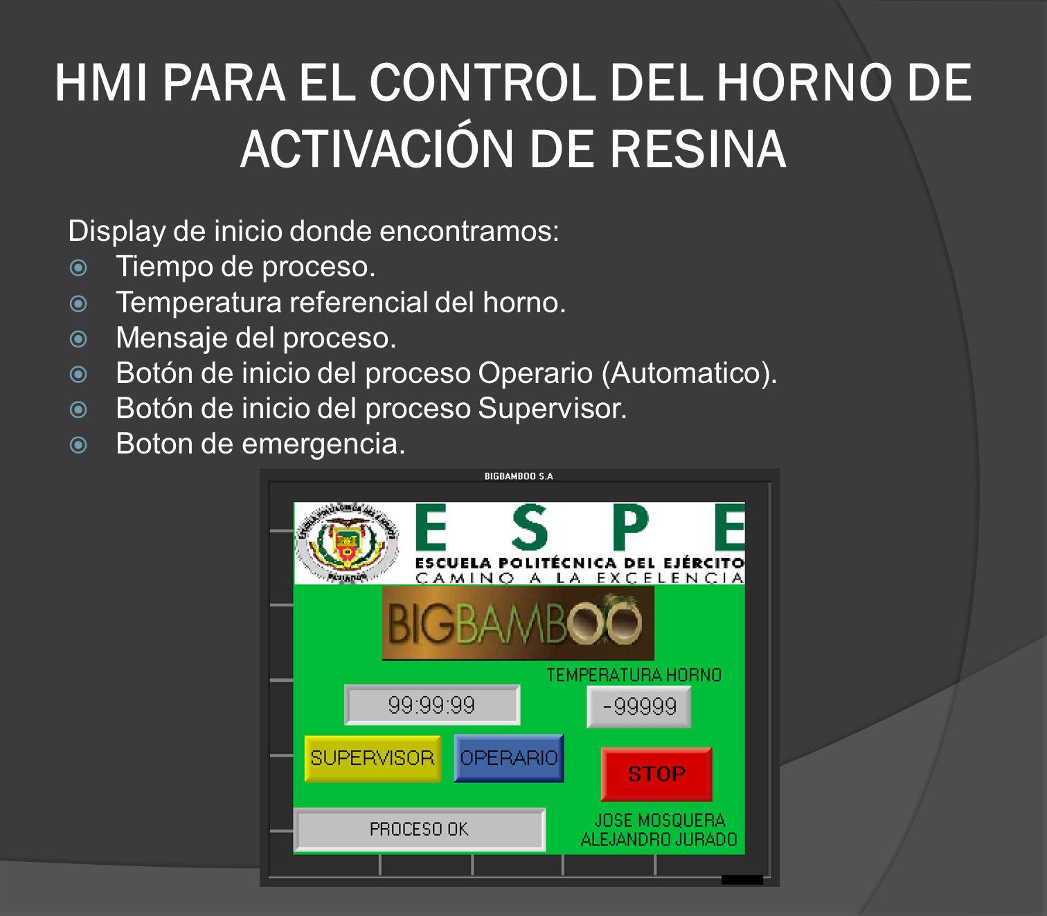 HMI PARA EL CONTROL DEL HORNO DE ACTIVACIÓN DE RESINA Display de inicio donde encontramos: Tiempo de proceso. Temperatura referencial del horno. Mensa