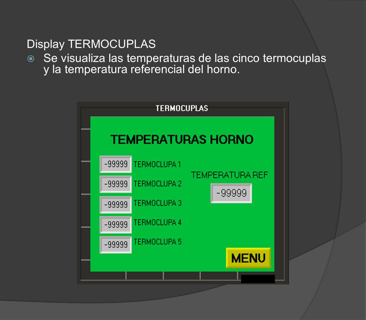 Display TERMOCUPLAS Se visualiza las temperaturas de las cinco termocuplas y la temperatura referencial del horno.