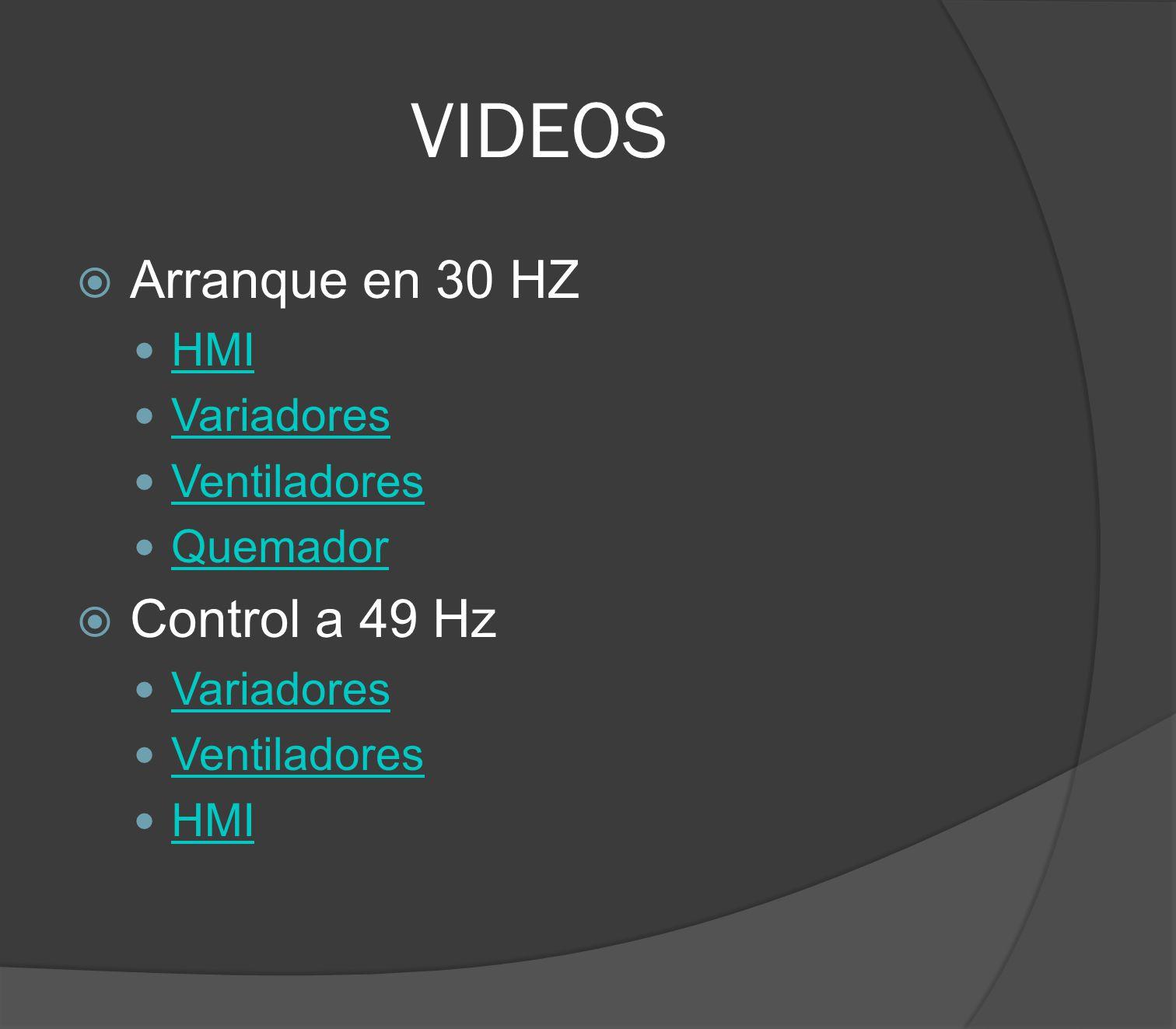 VIDEOS Arranque en 30 HZ HMI Variadores Ventiladores Quemador Control a 49 Hz Variadores Ventiladores HMI
