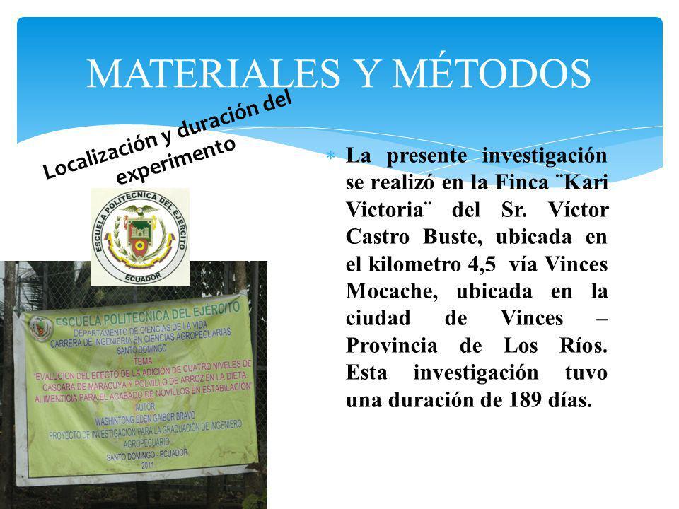 La presente investigación se realizó en la Finca ¨Kari Victoria¨ del Sr. Víctor Castro Buste, ubicada en el kilometro 4,5 vía Vinces Mocache, ubicada