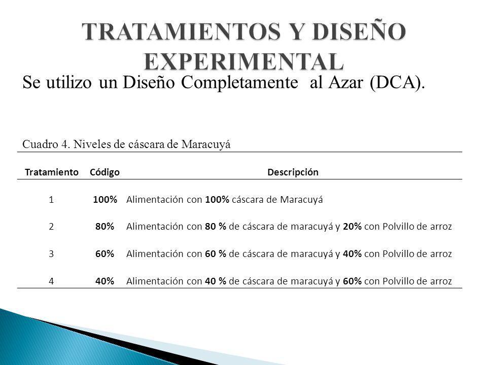 Se utilizo un Diseño Completamente al Azar (DCA). Cuadro 4. Niveles de cáscara de Maracuyá TratamientoCódigoDescripción 1100%Alimentación con 100% cás