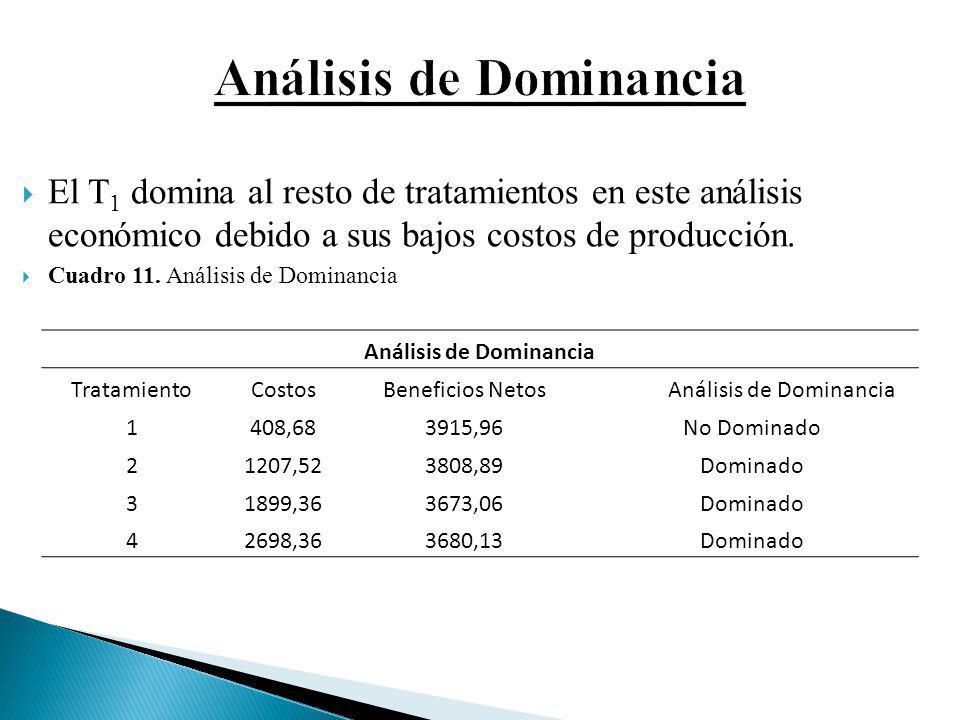 El T 1 domina al resto de tratamientos en este análisis económico debido a sus bajos costos de producción. Cuadro 11. Análisis de Dominancia Análisis