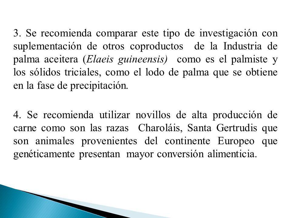 3. Se recomienda comparar este tipo de investigación con suplementación de otros coproductos de la Industria de palma aceitera (Elaeis guineensis) com