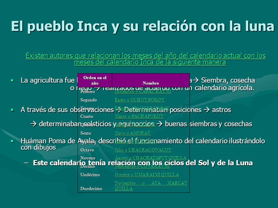 El pueblo Inca y su relación con la luna Existen autores que relacionan los meses del año del calendario actual con los meses del calendario Inca de l