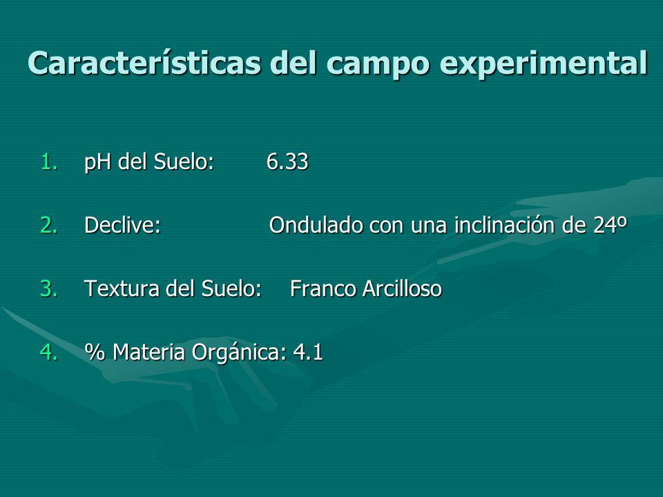 Características del campo experimental 1.pH del Suelo: 6.33 2.Declive: Ondulado con una inclinación de 24º 3.Textura del Suelo: Franco Arcilloso 4.% M