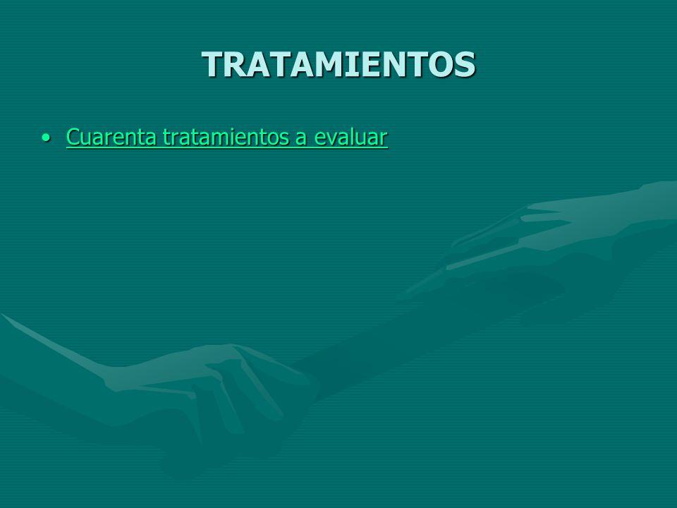 TRATAMIENTOS Cuarenta tratamientos a evaluarCuarenta tratamientos a evaluarCuarenta tratamientos a evaluarCuarenta tratamientos a evaluar
