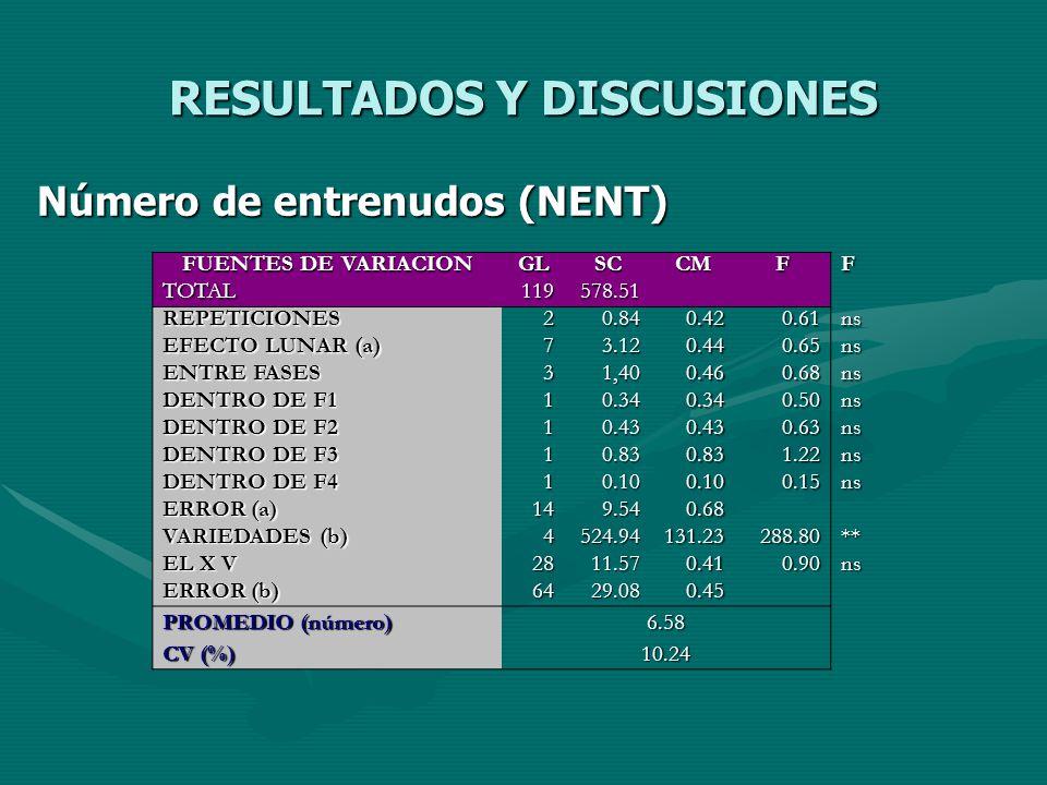 RESULTADOS Y DISCUSIONES Número de entrenudos (NENT) FUENTES DE VARIACION GLSCCMFF TOTAL119578.51 REPETICIONES20.840.420.61ns EFECTO LUNAR (a) 73.120.