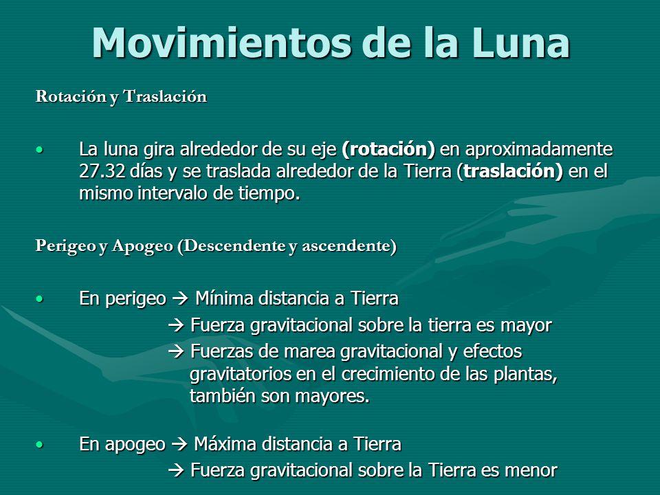 Movimientos de la Luna Rotación y Traslación La luna gira alrededor de su eje (rotación) en aproximadamente 27.32 días y se traslada alrededor de la T