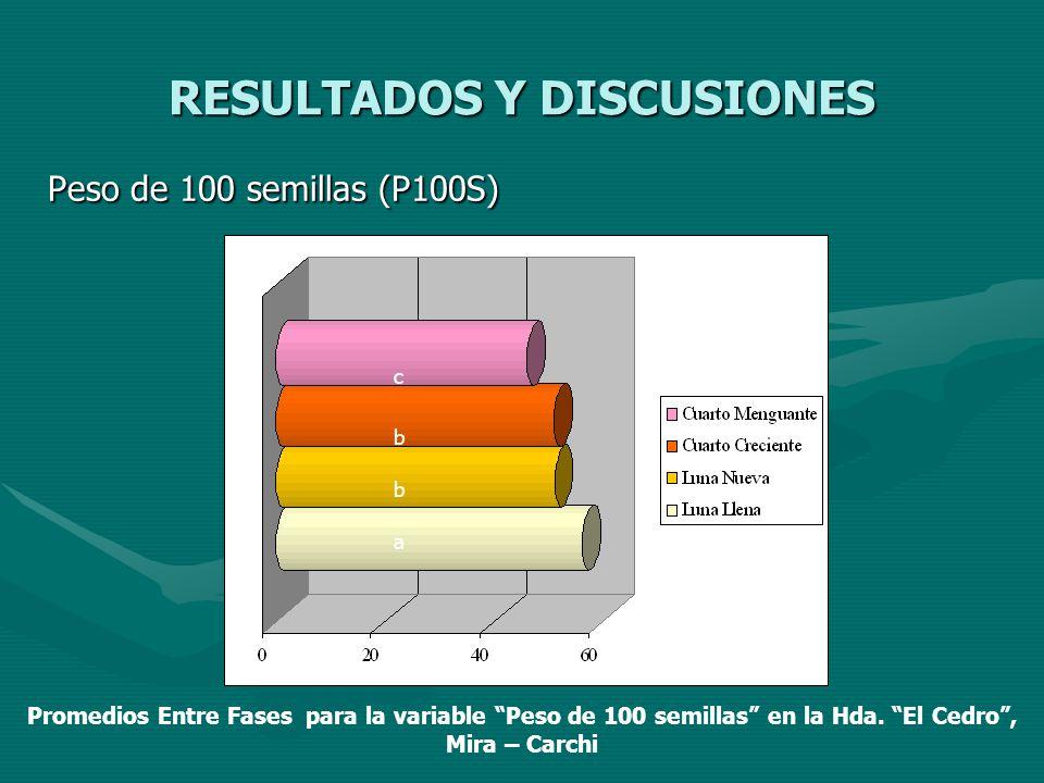 RESULTADOS Y DISCUSIONES Peso de 100 semillas (P100S) a b b c Promedios Entre Fases para la variable Peso de 100 semillas en la Hda. El Cedro, Mira –
