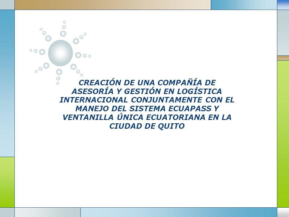 CREACIÓN DE UNA COMPAÑÍA DE ASESORÍA Y GESTIÓN EN LOGÍSTICA INTERNACIONAL CONJUNTAMENTE CON EL MANEJO DEL SISTEMA ECUAPASS Y VENTANILLA ÚNICA ECUATORI