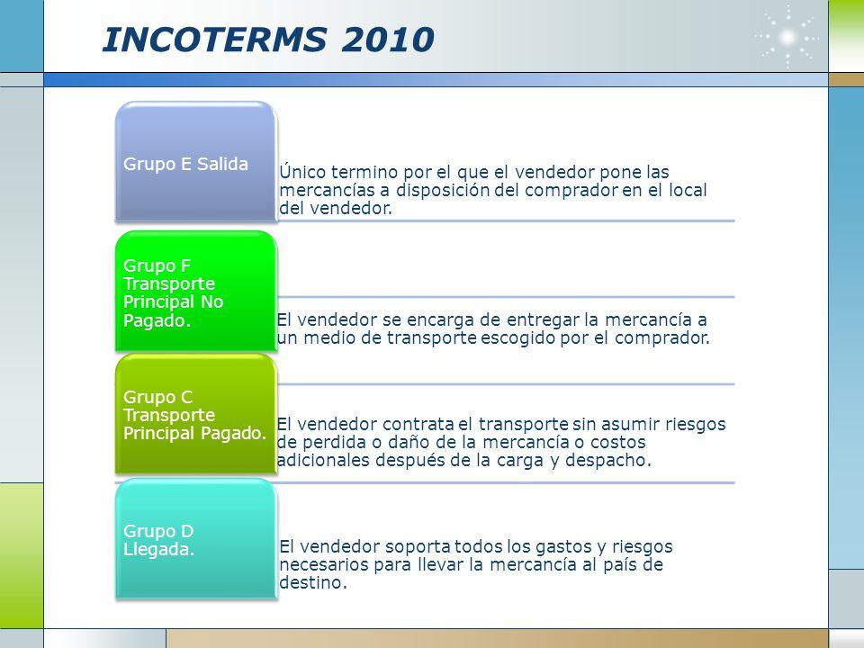 INCOTERMS 2010 Único termino por el que el vendedor pone las mercancías a disposición del comprador en el local del vendedor. Grupo E Salida El vended