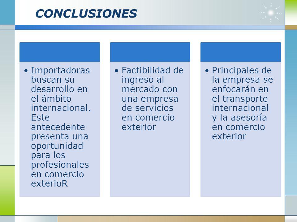 CONCLUSIONES Importadoras buscan su desarrollo en el ámbito internacional. Este antecedente presenta una oportunidad para los profesionales en comerci