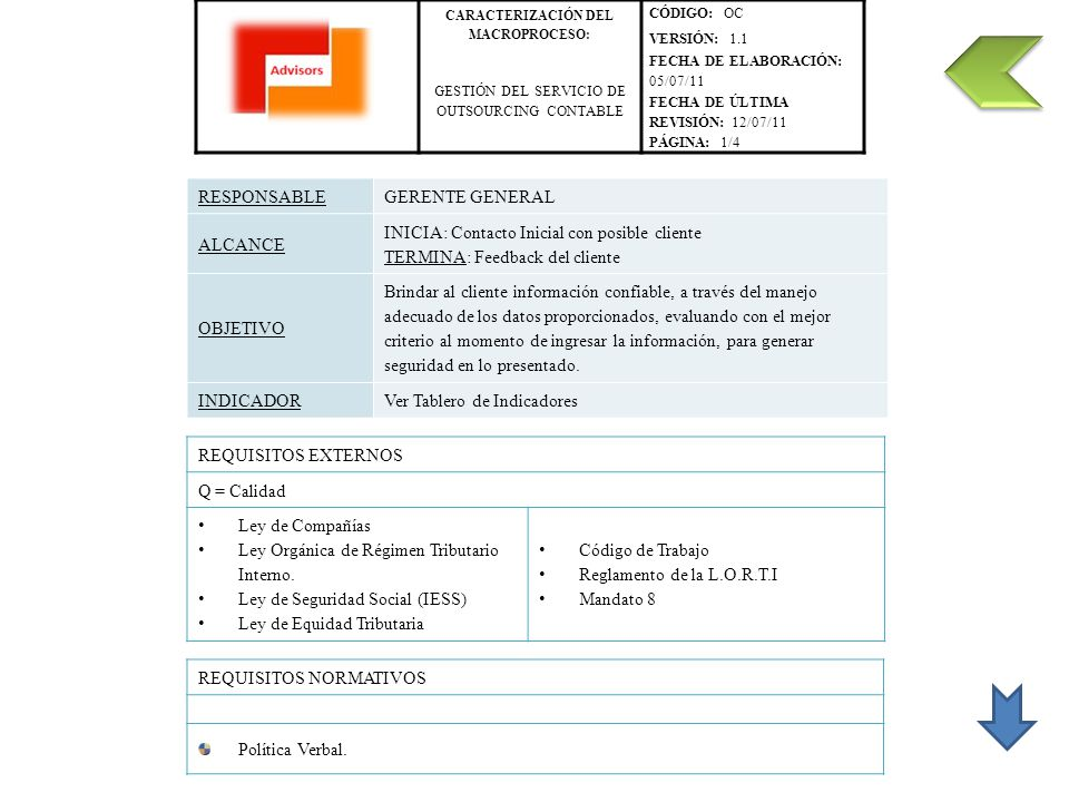 CARACTERIZACIÓN DEL MACROPROCESO: CÓDIGO: OC VERSIÓN: 1.1 GESTIÓN DEL SERVICIO DE OUTSOURCING CONTABLE FECHA DE ELABORACIÓN: 05/07/11 FECHA DE ÚLTIMA