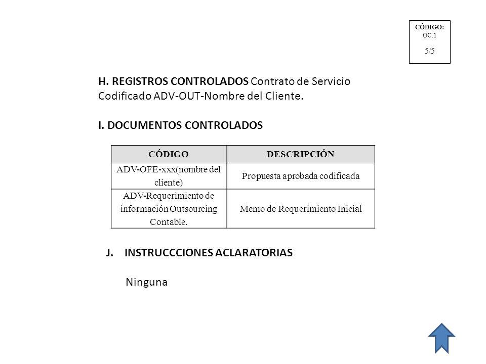 H. REGISTROS CONTROLADOS Contrato de Servicio Codificado ADV-OUT-Nombre del Cliente. I. DOCUMENTOS CONTROLADOS CÓDIGODESCRIPCIÓN ADV-OFE-xxx(nombre de