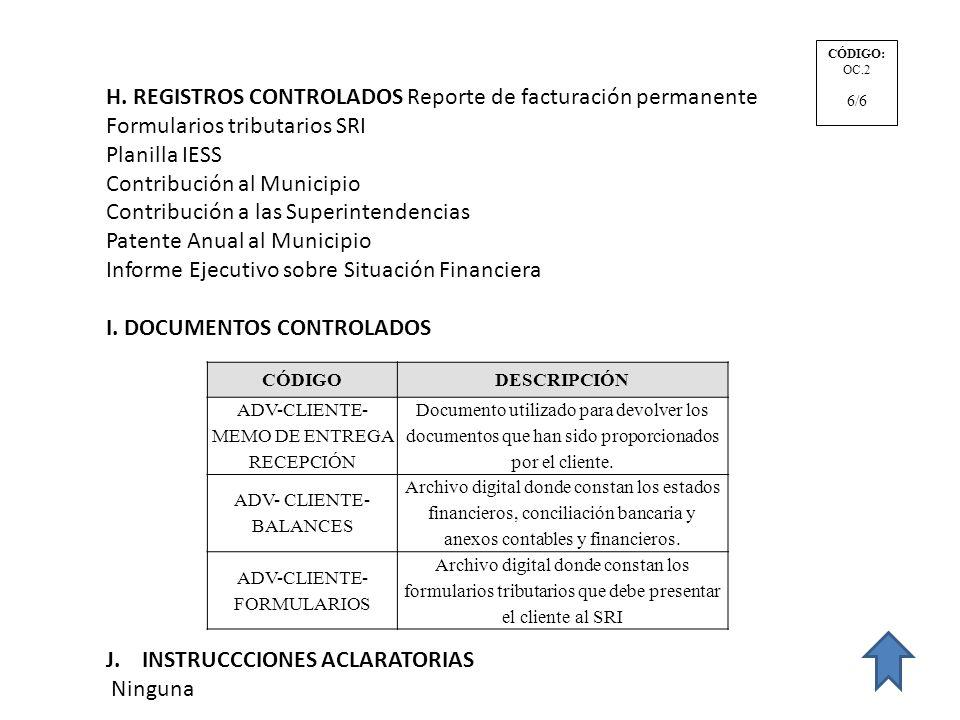 H. REGISTROS CONTROLADOS Reporte de facturación permanente Formularios tributarios SRI Planilla IESS Contribución al Municipio Contribución a las Supe