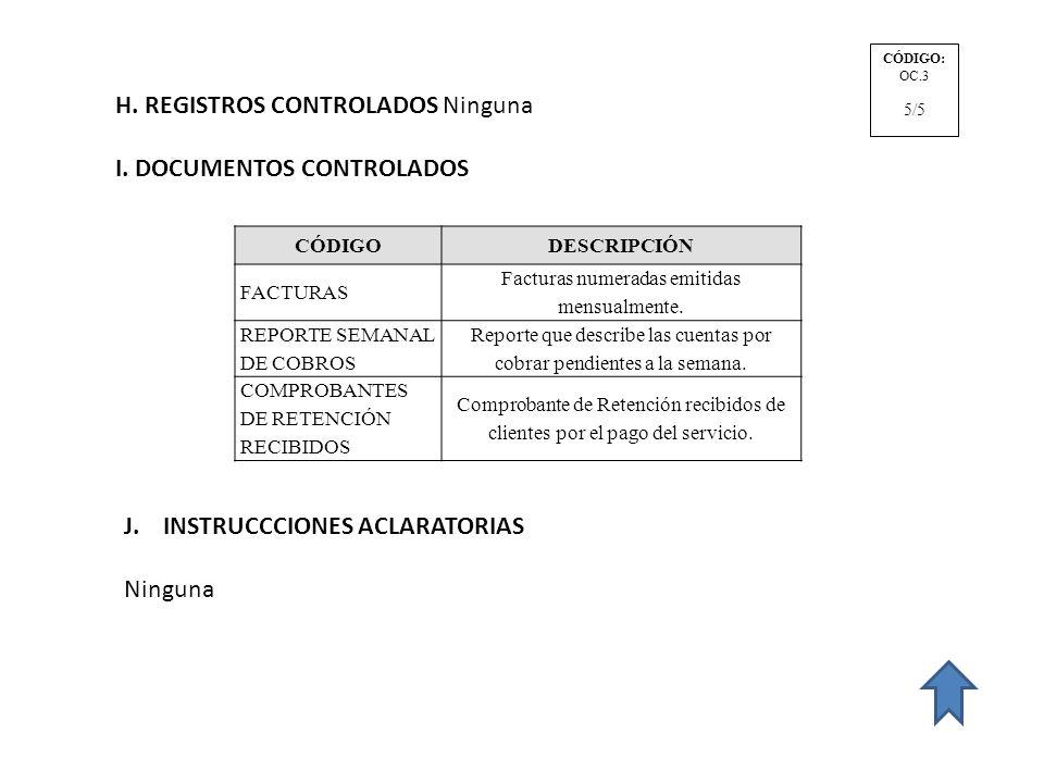 H. REGISTROS CONTROLADOS Ninguna I. DOCUMENTOS CONTROLADOS CÓDIGODESCRIPCIÓN FACTURAS Facturas numeradas emitidas mensualmente. REPORTE SEMANAL DE COB