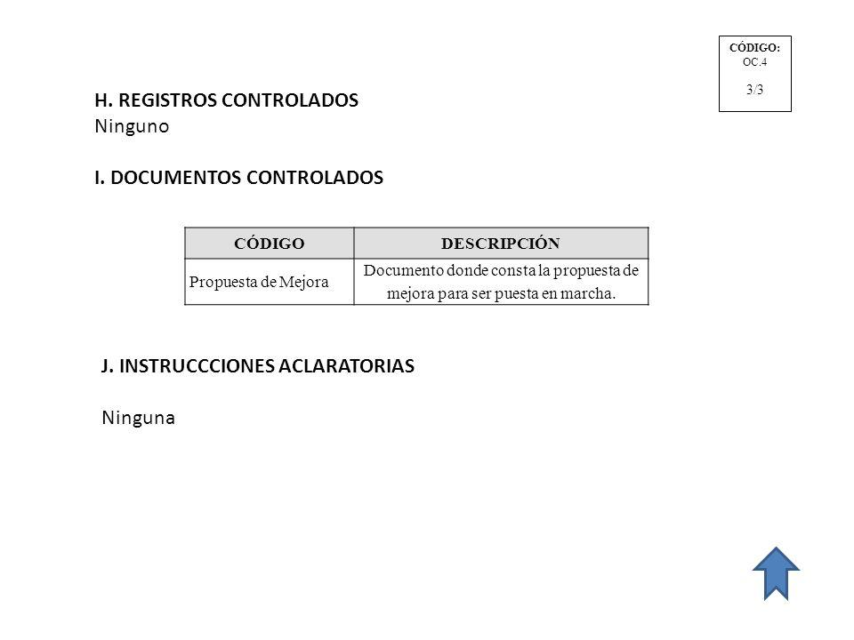 H. REGISTROS CONTROLADOS Ninguno I. DOCUMENTOS CONTROLADOS CÓDIGODESCRIPCIÓN Propuesta de Mejora Documento donde consta la propuesta de mejora para se