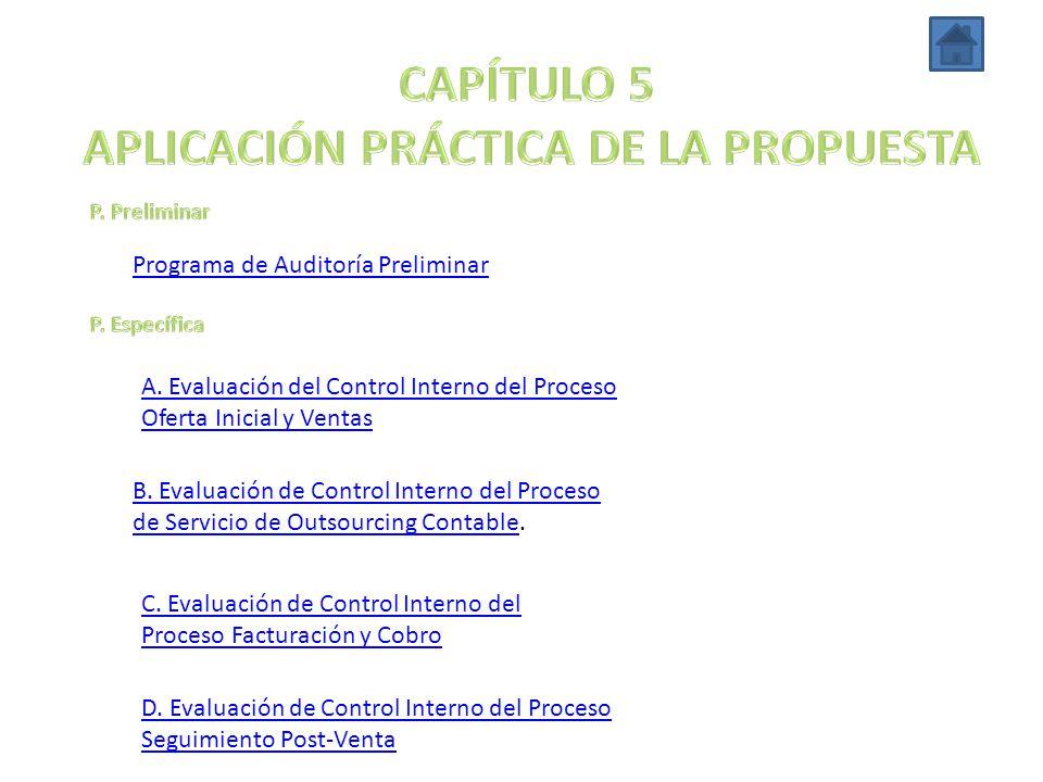 Programa de Auditoría Preliminar A. Evaluación del Control Interno del Proceso Oferta Inicial y Ventas B. Evaluación de Control Interno del Proceso de