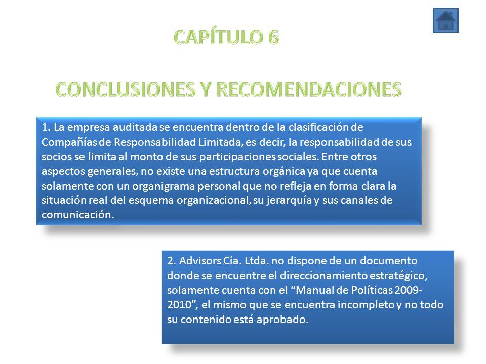 1. La empresa auditada se encuentra dentro de la clasificación de Compañías de Responsabilidad Limitada, es decir, la responsabilidad de sus socios se
