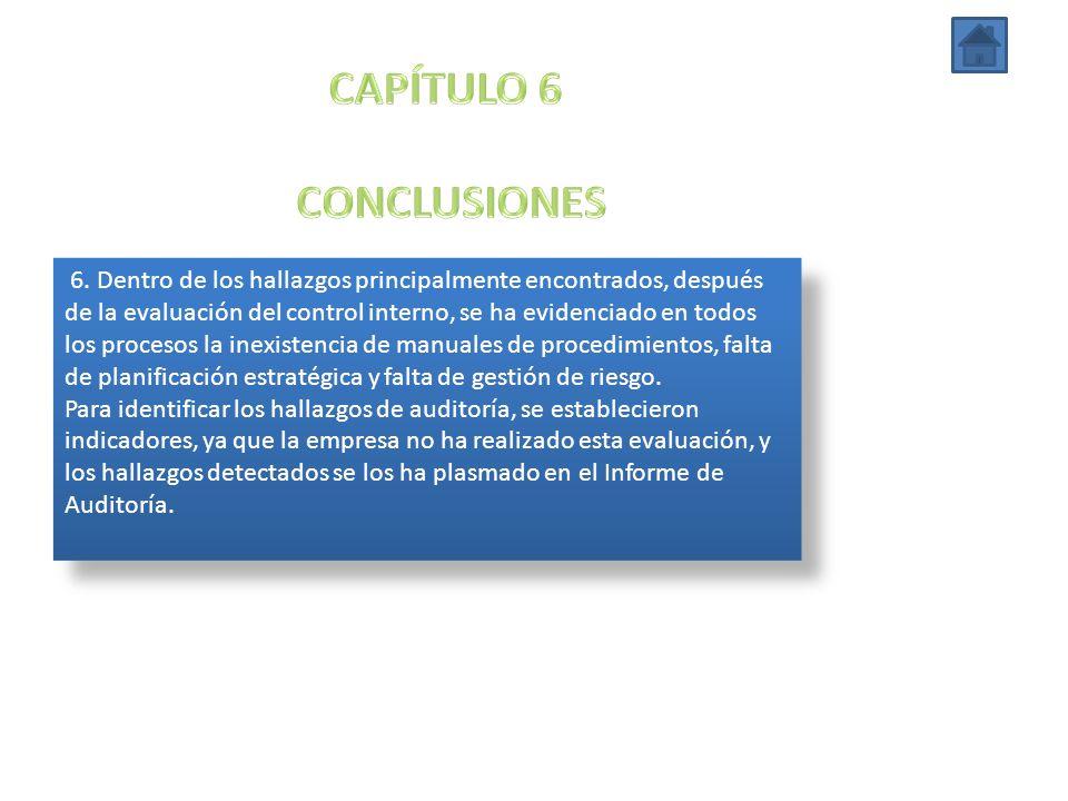 6. Dentro de los hallazgos principalmente encontrados, después de la evaluación del control interno, se ha evidenciado en todos los procesos la inexis
